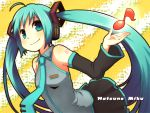 aqua_hair bad_id bare_shoulders detached_sleeves hatsune_miku headset highres hinata_(artist) long_hair magamoto musical_note necktie skirt smile solo twintails vocaloid