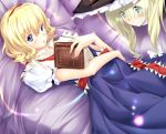 2girls alice_margatroid blonde_hair blue_eyes book couch drill_hair green_eyes grin hairband hat kirisame_marisa looking_at_viewer lying multiple_girls on_back open_book smile soumi_shizuru touhou