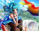 1girl :d ahoge black_legwear blue_eyes blue_hair blush bow cirno gobou hair_bow ice ice_wings looking_at_viewer open_mouth pantyhose short_hair smile solo touhou wings
