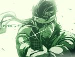 big_boss eyepatch facial_hair green gun headband highres metal_gear metal_gear_solid monochrome pov_aiming solid_snake weapon