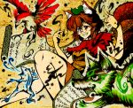 1girl animal_ears bird brown_hair calligraphy dog frog futatsuiwa_mamizou glasses grin ink leaf leaf_on_head raccoon_ears raccoon_tail red_eyes scroll smile tail touhou warugaki_(sk-ii)