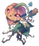 broom broomstick brown_hair juuden original pumpkin skull witch