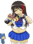 black_hair closed_eyes coca-cola cola drink long_hair love_handles michael navel os plump soda thigh-highs thighhighs translation_request xp