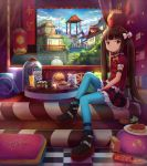 1girl aqua_legwear arm_belt blue_sky book bow brown_eyes brown_hair candy clouds drink food french_fries hamburger highres liclac long_hair looking_at_viewer mcdonald's omurice onigiri pasta pillow platform_footwear pringles sitting skirt sky smile solo spaghetti string_of_flags striped striped_skirt sushi tile_floor tiles twintails white_bow