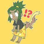 !? 1boy ass_biting biting dark_skin dark_skinned_male green_hair hau_(pokemon) highres multiple_boys pokemon pokemon_(creature) pokemon_(game) pokemon_sm shiro_(tiotolv) shirt short_hair short_ponytail shorts t-shirt yungoos