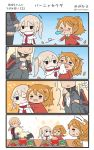 >_< 4koma 5girls =_= aquila_(kantai_collection) bismarck_(kantai_collection) blonde_hair blush brown_hair capelet closed_eyes comic commentary_request graf_zeppelin_(kantai_collection) highres hiyoko_(nikuyakidaijinn) hug kantai_collection littorio_(kantai_collection) long_hair military military_uniform multiple_girls one_eye_closed ponytail prinz_eugen_(kantai_collection) sick silent_comic sneezing snot speech_bubble sweatdrop tissue tissue_box twitter_username uniform wavy_hair younger