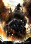 absurdres clouds company_connection crossover fire gipsy_danger godzilla godzilla_(2014) godzilla_(series) highres kaijuu keitel_von_birsk monster pacific_rim roaring robot ruins sharp_teeth smoke teeth