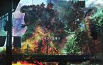 aircraft bioluminescence building city day destruction fire glowing godzilla godzilla_(series) helicopter highres kaijuu military military_vehicle no_humans outdoors shin_godzilla skyscraper smoke solo yamabuki_ryuu