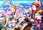2girls alice_in_wonderland alternate_costume animal_ears artist_request blue_eyes blue_sky boots bow braid brown_hair cape card cat cat_ears checkered checkered_floor cheshire_cat clouds coat cravat drink_me eat_me fake_animal_ears feathers floating flower frilled_sleeves frills gloves hair_ornament holding long_sleeves looking_at_viewer love_live! love_live!_school_idol_festival love_live!_sunshine!! multiple_girls ocean official_art one_eye_closed open_mouth outdoors pants pinstripe_pattern playing_card puffy_sleeves rabbit_ears red_rose ribbon rose sakurauchi_riko side_braid sitting sky smile smirk striped thigh-highs thigh_boots too_many too_many_frills watanabe_you