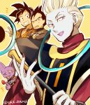 +++ 4boys ;d armor beerus black_eyes black_hair crossed_arms dougi dragon_ball dragon_ball_super dragon_ball_z_fukkatsu_no_f dragonball_z egyptian_clothes fingernails food frown fruit happy looking_at_viewer looking_away male_focus multiple_boys neko_ni_chikyuu one_eye_closed open_mouth smile son_gokuu staff strawberry sweatdrop twitter_username v vegeta violet_eyes whis white_hair