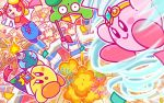 audience backwards_hat baseball_cap bomb bow bowtie commentary_request copy_ability explosion fireworks hat headphones jitome kirby kirby:battle_royale kirby_(series) notepad official_art polearm red_neckwear sign spear stadium tornado umbrella waddle_dee weapon