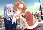 2girls :o alternate_hairstyle bangs blue_jacket blue_sky blurry blush bow braid breath bridge building casual closed_eyes coat commentary_request day depth_of_field earmuffs eyebrows_visible_through_hair facing_another flat_chest flower frilled_skirt frills fur-trimmed_capelet gochuumon_wa_usagi_desu_ka? hair_between_eyes hair_flower hair_ornament hair_scrunchie hairclip hand_holding highres hoto_cocoa jacket kafuu_chino lamppost light_blue_hair long_hair long_sleeves looking_at_another mousou_(mousou_temporary) multiple_girls open_mouth orange_hair outdoors pink_capelet pink_flower red_bow red_skirt scrunchie shirt short_hair sidelocks skirt sky twin_braids upper_body white_scrunchie white_shirt x_hair_ornament yellow_shirt