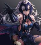 1girl absurdres armor armored_dress bare_shoulders black_gloves blue_dress breasts cleavage curvy dress elbow_gloves fate/grand_order fate_(series) floating_hair fur_trim gloves gradient gradient_background grey_background highres jeanne_d'arc_(alter)_(fate) jeanne_d'arc_(fate)_(all) large_breasts long_hair looking_at_viewer nai_zi navel navel_cutout parted_lips silver_hair sleeveless sleeveless_dress smile solo thigh-highs very_long_hair wide_hips yellow_eyes