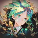 androgynous bangs closed_mouth cowlick eyebrows_visible_through_hair green_eyes green_hair houseki_no_kuni jofang looking_to_the_side necktie phosphophyllite short_hair solo