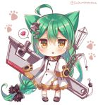 1girl absurdly_long_hair ahoge akashi_(azur_lane) animal_ears azur_lane bangs bell black_bow black_footwear bow cat_ears chestnut_mouth chibi commentary_request crane dress eyebrows_visible_through_hair full_body green_hair hair_between_eyes hair_bow hair_ornament hands_in_sleeves holding jingle_bell kneehighs kneehighs_pull long_hair long_sleeves looking_at_viewer machinery parted_lips paw_background pigeon-toed red_bow ruby_(stone) sailor_dress shoes sidelocks simple_background solo spoken_object standing suzune_rena twitter_username very_long_hair white_background white_dress white_legwear wide_sleeves yellow_eyes