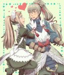 1boy 1girl akubimikan apron blue_eyes blush boots felicia_(fire_emblem_if) fire_emblem fire_emblem_if fur_trim gloves green_background grey_hair heart long_hair maid maid_apron maid_headdress open_mouth orange_eyes ponytail simple_background star takumi_(fire_emblem_if)
