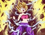 1girl artist_name aura bandeau bare_shoulders blonde_hair blue_eyes caulifla clenched_hands destruction dragon_ball dragon_ball_super electricity mazume midriff navel pants purple_pants solo spiky_hair strapless super_saiyan super_saiyan_2 tubetop wristband