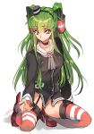 1girl amatsukaze_(kantai_collection) amatsukaze_(kantai_collection)_(cosplay) artist_name c.c. code_geass cosplay creayus dress green_hair hat high_heels kantai_collection kneeling long_hair no_panties sailor_dress short_dress signature simple_background smile solo striped striped_legwear thigh-highs two_side_up white_background yellow_eyes