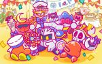 1up 6+boys axe_knight_(kirby) banner bird blade_knight bouquet bow box cake cape captain_vul commentary_request confetti flower flying_sweatdrops food gift gift_box gloves hat helmet horned_helmet invincible_candy javelin_knight kirby kirby_(series) mace_knight mask maxim_tomato meta_knight multiple_boys official_art parfait peaked_cap pennant sailor_hat shoulder_pads sparkle sparkling_eyes sword_knight trident_knight waddle_dee white_gloves