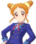 1girl :t aikatsu! arisugawa_otome blouse blue_jacket blush closed_mouth double_bun frown hands_on_hips highres jacket looking_at_viewer orange_eyes sekina short_hair simple_background solo standing upper_body v-shaped_eyebrows white_background white_blouse