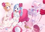 2girls absurdres angora_rabbit animal bangs barefoot bikini blue_eyes blue_hair breasts candy circle_name cleavage cleavage_cutout collarbone commentary_request criss-cross_halter crown cushion eating eyebrows_visible_through_hair food frilled_bikini frills gochuumon_wa_usagi_desu_ka? hair_between_eyes hair_ornament hairclip halterneck hand_mirror heart heart_balloon heart_print highres holding hoto_cocoa kafuu_chino leg_garter light_brown_hair lollipop long_hair looking_at_viewer medium_breasts mini_crown mirror multiple_girls nail_polish_bottle navel neki_(wakiko) pink_bikini pink_footwear poodle print_bikini rabbit seashell seiza shell shoes_removed sidelocks sitting small_breasts stomach stool stuffed_animal stuffed_bunny stuffed_toy swimsuit tippy_(gochiusa) twintails twitter_username two-tone_background violet_eyes wading water white_bikini x_hair_ornament