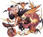 >:o 1girl :o animal_ears azur_lane bangs bare_arms basket bat_wings black_cape black_choker black_eyes black_footwear black_legwear black_wings blush bob_cut bow bowtie broom broom_riding buttons candy candy_wrapper cape cat_ears choker crying crying_with_eyes_open dress eyebrows eyelashes facing_away fang fingernails flat_chest flight_deck food full_body halloween halloween_costume jack-o'-lantern jong_tu lollipop looking_away machinery nose_blush official_art open_mouth orange_bow orange_dress orange_neckwear perspective pumpkin saliva shoes short_dress short_hair shouhou_(azur_lane) simple_background single_thighhigh solo sparkle star striped striped_legwear tears thigh-highs tongue topknot torn_cape torn_clothes transparent_background vertical-striped_legwear vertical_stripes white_hair wings zettai_ryouiki