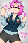 1girl anger_vein bike_shorts censored domino_mask hair_ornament highres inkling iriehana long_sleeves mask middle_finger novelty_censor pink_eyes pink_hair pointy_ears shirt solo splatoon squid tentacle_hair vest