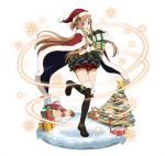 1girl :d asuna_(sao) black_footwear boots box breasts brown_eyes brown_hair cape christmas cleavage floating_hair full_body fur_trim gift gift_box hat holding holding_box long_hair looking_at_viewer medium_breasts one_leg_raised open_mouth red_cape red_hat red_shorts santa_hat short_shorts shorts smile snow solo standing standing_on_one_leg sword_art_online thigh-highs thigh_boots very_long_hair
