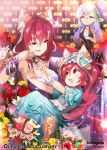 3girls :d animal_ears bell blue_dress blush breasts cat_ears cleavage dress eye_contact flower frown glaring hair_flower hair_ornament hairband heart heart_hands jingle_bell long_hair looking_at_another multiple_girls open_mouth paw_hair_ornament paw_pose pink_eyes purple_flower purple_hair qurare_magic_library redhead rose sitting sitting_on_lap sitting_on_person smile takotsu very_long_hair violet_eyes