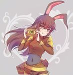 1girl animal_ears brown_eyes brown_hair bunny_girl bunny_tail camera check_commentary commentary_request iesupa rabbit_ears rwby shoulder_pads solo tail velvet_scarlatina