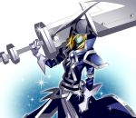 1boy artist_request blonde_hair coat duel_monster gloves hat long_hair looking_at_viewer red_eyes silent_swordsman solo sword weapon yu-gi-oh!