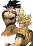 1boy black_hair blonde_hair clone cowboy_shot dragon_ball dragonball_z expressionless facing_away fighting_stance green_eyes hand_on_own_arm looking_at_viewer male_focus nitako serious short_hair simple_background smile son_gokuu spiky_hair spread_legs super_saiyan upper_body white_background wristband