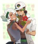1boy 1girl :d ;d abs alolan_exeggutor arm_around_waist bare_arms bare_shoulders baseball_cap beard blush brown_eyes brown_hair burnet_(pokemon) collarbone couple facial_hair flower flower_necklace from_behind green-framed_eyewear grin hand_on_another's_back hat highres hsin husband_and_wife jewelry kukui_(pokemon) long_hair looking_at_viewer looking_back low_twintails navel necklace one_eye_closed open_clothes open_mouth open_shirt over-rim_eyewear pokemon pokemon_(game) pokemon_sm pouch ring shirt short_sleeves sidelocks sleeveless smile sunglasses tank_top teeth twintails upper_body v wedding_band white_hair white_hat white_shirt yellow_eyes