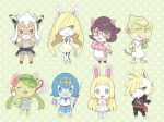 animal animal_ears animalization blonde_hair chibi crossover doubutsu_no_mori glasses green_eyes green_hair grubbin hat highres jewelry lillie_(pokemon) looking_at_viewer lusamine_(pokemon) mao_(pokemon) mei_(maysroom) multiple_girls overalls pokemon pokemon_(creature) pokemon_(game) pokemon_sm short_hair smile suiren_(pokemon) tail twintails