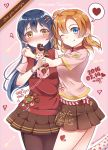 2girls bangs blue_eyes blue_hair blush box chocolate chocolate_heart commentary_request cowboy_shot dated gift gift_box hair_between_eyes hair_ornament happy_valentine heart highres holding holding_gift hug kousaka_honoka long_hair looking_at_viewer love_live! love_live!_school_idol_project minamixdrops mouth_hold multiple_girls one_eye_closed one_side_up orange_hair pantyhose ribbon short_hair short_sleeves smile sonoda_umi valentine yellow_eyes
