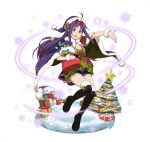 1girl :d ahoge argyle_shorts black_footwear boots box breasts cape christmas christmas_tree cleavage floating_hair full_body fur_trim gift gift_box hairband hat holding long_hair looking_at_viewer open_mouth outstretched_arm purple_cape purple_hair purple_hat purple_shorts red_eyes red_hairband santa_hat short_shorts shorts simple_background small_breasts smile snow snowflakes snowman solo sword_art_online thigh-highs thigh_boots very_long_hair white_background wrist_cuffs yuuki_(sao)