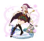 1girl ;d argyle_shorts black_footwear boots box breasts cape christmas christmas_tree cleavage full_body fur_trim gift gift_box grin hair_ornament hairclip hat holding_bell layered lisbeth one_eye_closed open_mouth outstretched_arm pink_eyes pink_hair purple_cape purple_hat purple_shorts red_ribbon ribbon santa_hat short_hair_with_long_locks short_shorts shorts sidelocks simple_background small_breasts smile snowflakes snowman solo star sword_art_online thigh-highs thigh_boots white_background wrist_cuffs