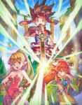 2boys 2girls absurdres blonde_hair blue_sky breasts brown_hair cleavage commentary earrings glowing haccan hands_on_hips highres jewelry looking_at_viewer multiple_boys multiple_girls official_art open_mouth pointy_ears ponytail popoi primm randi seiken_densetsu seiken_densetsu_2 sky spiky_hair square_enix sword water waterfall weapon