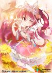 1girl 2girls ;) animal_ears blurry blurry_background blush bow bracelet cat_ears cat_tail dress flower frilled_dress frills hair_between_eyes hair_bow hairband heart heart_hands jewelry long_hair multiple_girls official_art one_eye_closed paw_hair_ornament pink_dress pink_eyes pink_hair puckered_lips qurare_magic_library smile solo_focus tail takotsu two_side_up watermark white_legwear