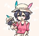1girl :d ^_^ backpack bag black_hair blush bucket_hat closed_eyes eyebrows_visible_through_hair hair_between_eyes hand_puppet hat hat_feather kaban_(kemono_friends) kemono_friends open_mouth pink_shirt puppet seki_(red_shine) shirt short_hair smile solo upper_body white_hat