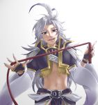 1boy :d androgynous blue_eyes eyeliner feathers final_fantasy final_fantasy_ix fingerless_gloves fingernails gloves hair_feathers highres kokonotsu_(popoxxx0516) kuja lipstick long_hair looking_at_viewer makeup male_focus midriff nail_polish navel open_mouth sharp_fingernails silver_hair simple_background slit_pupils smile solo whip wide_sleeves