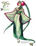 1girl artist_name flygon full_body green_footwear green_hair japanese_clothes kimono long_hair personification pokemon pokemon_(game) standing tamtamdi twintails very_long_hair