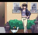 1girl alternate_costume bangs belt bird black_eyes blurry breasts brown_hair capri_pants cat cleavage depth_of_field duck eyewear_on_head hand_on_hip hibiki_ryouga jacket letterboxed lipstick makeup medium_breasts midriff mousse mousse_(duck) navel open_clothes open_jacket outdoors p-chan pants parted_lips pig ranma_1/2 red_lipstick shampoo_(ranma_1/2) shirt short_hair sleeves_folded_up solo_focus striped striped_shirt sunglasses tendou_nabiki wantan-orz window