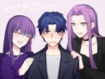 1boy 2girls blue_hair brother_and_sister fate/stay_night fate_(series) girl_sandwich hair_intakes hair_ribbon hand_on_another's_shoulder lavender_background long_hair matou_sakura matou_shinji multiple_girls purple_hair red_ribbon ribbon rider sandwiched siblings simple_background upper_body violet_eyes wavy_hair ycco_(estrella)