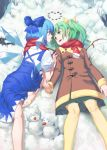 2girls absurdres bare_legs barefoot blue_bow blue_dress blue_eyes blue_hair bow brown_coat carrot cirno closed_mouth coat daiyousei dress eye_contact fairy_wings green_eyes green_hair green_skirt hair_bow highres ice ice_wings long_hair looking_at_another lying miniskirt multiple_girls on_back on_ground pantyhose pebble pleated_skirt puffy_short_sleeves puffy_sleeves red_scarf scarf short_sleeves side_ponytail skirt smile snow snowman touhou wings winter winter_clothes winter_coat yal_(lily910218) yellow_legwear yuri