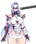 1girl android blue_hair breasts cyborg elbow_gloves forehead_protector gloves highres kos-mos kos-mos_ver._4 long_hair looking_at_viewer negresco red_eyes solo thigh-highs under_boob xenoblade xenoblade_2 xenosaga xenosaga_episode_i xenosaga_episode_ii xenosaga_episode_iii