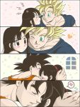 /\/\/\ 1boy 1girl ;) annoyed black_eyes black_hair blue_shirt blush chi-chi_(dragon_ball) closed_eyes couple dragon_ball dragonball_z green_eyes heart heart_background hetero long_hair looking_at_another masa_(p-piyo) nervous one_eye_closed orange_shirt panels pink_background shirt simple_background smile son_gokuu speech_bubble star starry_background super_saiyan sweatdrop tied_hair white_background