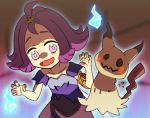 1girl :3 :d acerola_(pokemon) armlet aura blue_fire blurry bright_pupils collarbone depth_of_field dot_nose dress elite_four eyebrows eyelashes fingernails fire flat_chest flying_sweatdrops highres hitodama looking_at_another looking_to_the_side mimikyu mushiki_k open_mouth palms pokemon pokemon_(creature) pokemon_(game) pokemon_sm purple_dress purple_hair short_hair short_sleeves smile solo stitches tareme tongue topknot torn_clothes torn_sleeves trial_captain violet_eyes white_pupils