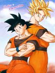 2boys back-to-back black_eyes black_hair blonde_hair character_name clone clouds cloudy_sky crossed_arms dougi dragon_ball dragonball_z green_eyes looking_at_another looking_back male_focus masa_(p-piyo) multiple_boys short_hair sitting sky smile son_gokuu spiky_hair standing super_saiyan wristband