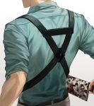 1boy absurdres artist_name back belt blood bloody_weapon blue_shirt collared_shirt commentary english_commentary from_behind head_out_of_frame highres holding holding_sword holding_weapon jujutsu_kaisen male_focus nanami_kento oretsuu shirt sleeves_pushed_up solo suspenders sword upper_body weapon